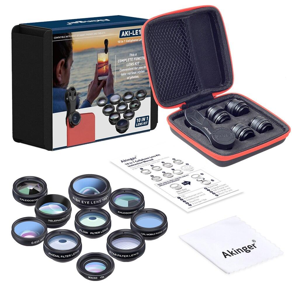 Akinger lente de cámara móvil Kit de lentes de teléfono 10in1 Fisheye gran angular macro telescopio para iphone xiaomi note samsung smartphone