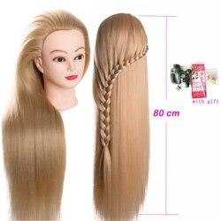 80cm cabeza de muñecas de peluquería pelo muy largo yaki maniquí femenino peluquería estilismo entrenamiento profesional cabeza maniquí cabeza
