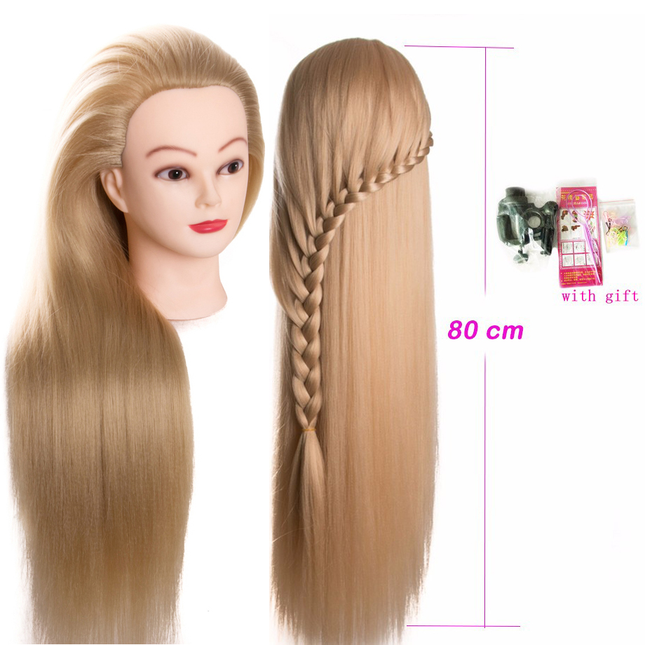 80cm Hairdressing Dolls Head Very Long Yaki Hair Female Mannequin Hairdressing Styling Professional Training Head Mannequin Head