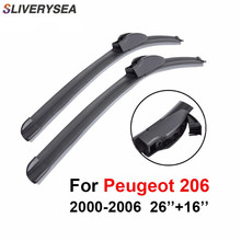 SLIVERYSEA Wiper Blades For Peugeot 206 2000 2001 2002 2003 2004 2005 2006 26+16 Natural Rubber Clean Front Windshield