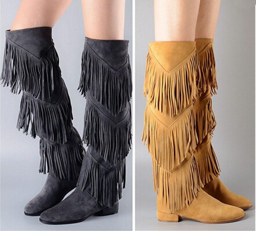 2015 новое прибытие Ретро кисточка замша кожа колено высокие плоские ботинки бедра высокие сапоги женщина плоские Мода стиль сапоги