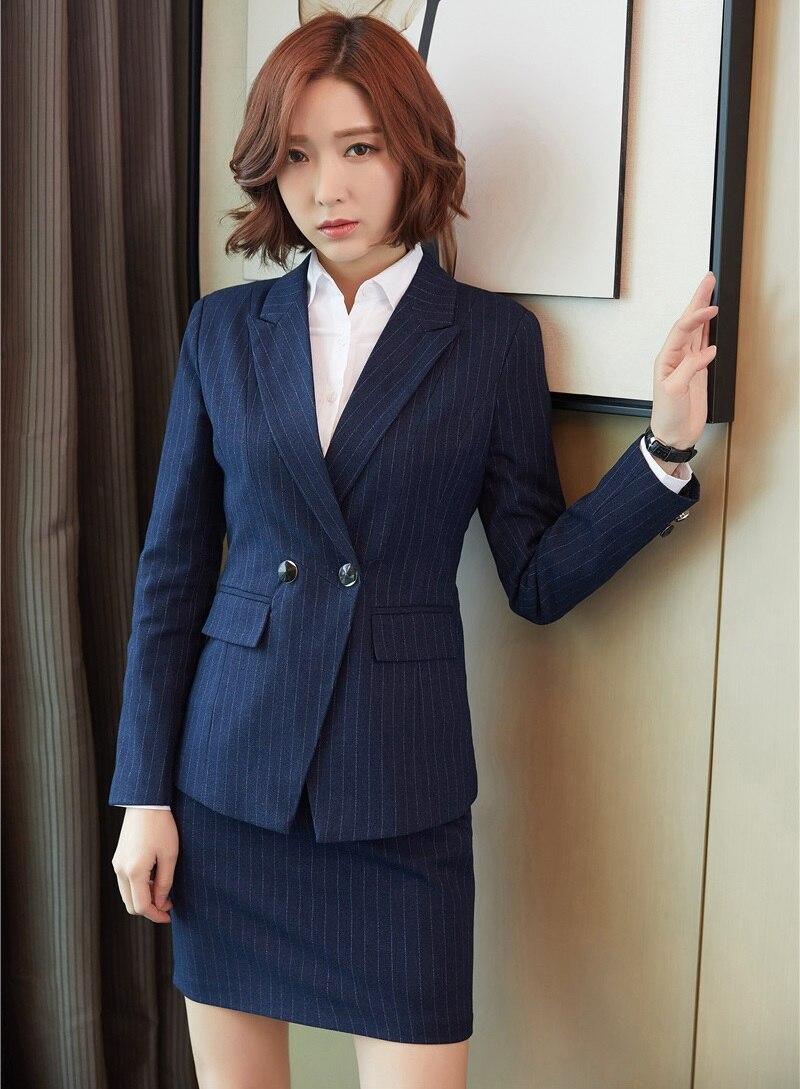Ladies Dark blue Striped Blazer for Women Business Suits ...