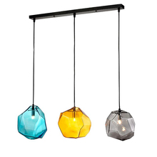 Modern creative glass pendant light ice cube shape hanging lamp grey yellow blue colorful droplight E14 LED bulb 5W