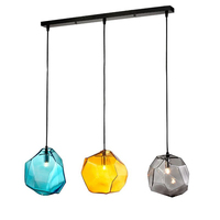 Modern Creative Glass Pendant Light Ice Cube Glass Shape Hanging Lamp Glass Grey Yellow Blue Colorful