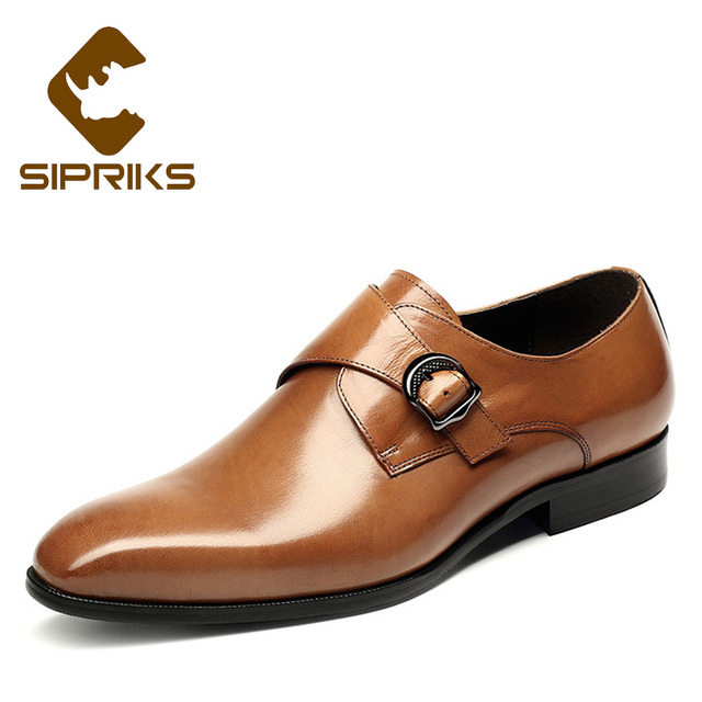 539ada98bb11 Sipriks Men Single Monk Strap Elegant Mens Dress Shoes With Buckle Business  Casual Shoes Tan Leather Buckle Strap Shoes European
