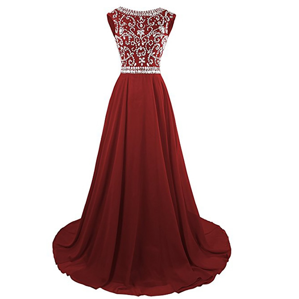 2019 High Quality Women Sex Backless Handmade Beaded Evening Dresses Custom Design Chiffon Dress Sleeveless prom