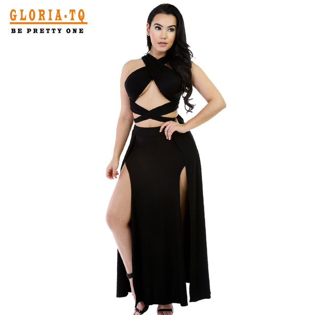 2016 New Arrivals Black Two Piece Party Dresses Long Bandage Dress Celebrity Wear High Quality Spaghetti Strap Long Maxi Dress