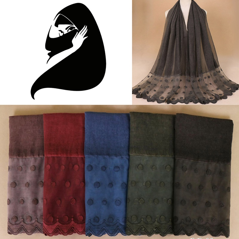 High Quality Elegant Women Cotton Scarf Double Side Embroidery Floral Lace Silk Scarf Wedding Party Muslim Hijabs Scarves