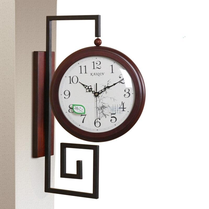 Grande horloge murale Double face horloge murale Vintage en bois décor à la maison Saat montre horloges numérique grand Wanduhr rétro Wandklok Klokken