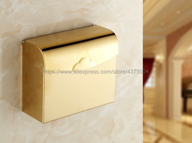 Bathroom Paper Holders Wall Mount Toilet Paper Roll Basket Holder Gold Toilet Tissue box Paper Towel Rack Nba299 copper open toilet paper tissue towel roll paper holder silver