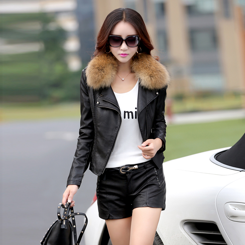 leather   jacket women short motorcycle   leather   jacket spring and autumn ladies raccoon fur collar   leather   coat size m-5xl k926