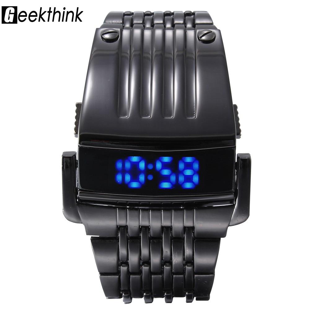 """""""GEEKTHINK"""" unikalūs """"Iron Man"""" skaitmeniniai laikrodžiai Vyrai plieno mėlyna LED prabanga kariniai mados suknelės riešo laikrodžiai Vyriški laikrodžiai vyrai Relogio"""