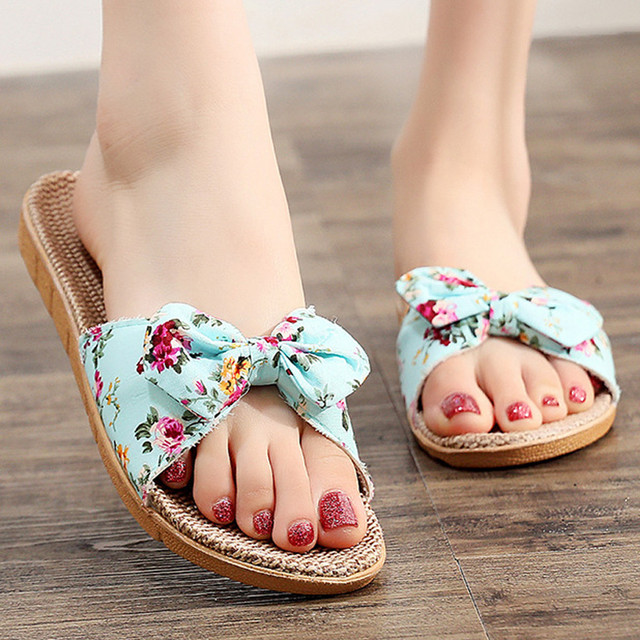 Slipper Indoor Outdoor Flip Women Female Bohemia Bowknot Flax Linen Flip Flops Beach Shoes Sandals Slipper обувь женская#116GP 3