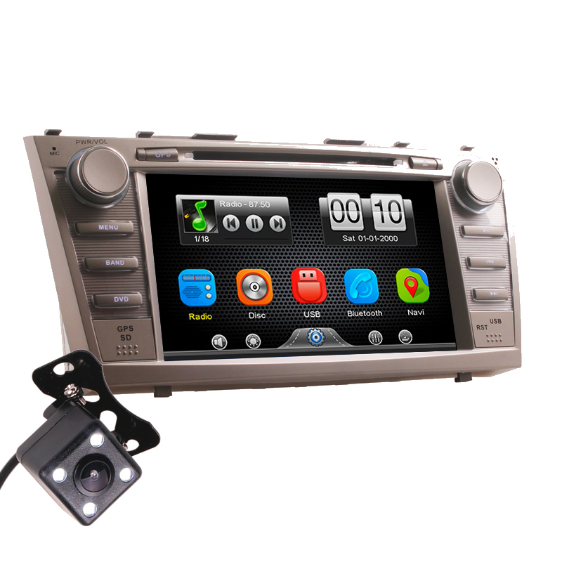 2Din Car In Dash DVD Video Player Radio Bluetooth Head Unit Stereos with Reverse Camera for Toyota Camry 2007 2011 (Without GPS)