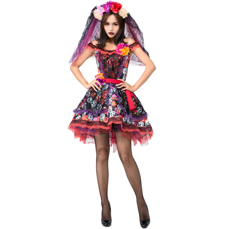 Skeleton Day of The Dead Costume <font><b>Women's</b></font> <font><b>Sexy</b></font> Sugar Skull Dia Flower Fairy <font><b>Halloween</b></font> ghost vampire bride Fancy <font><b>Dress</b></font> image