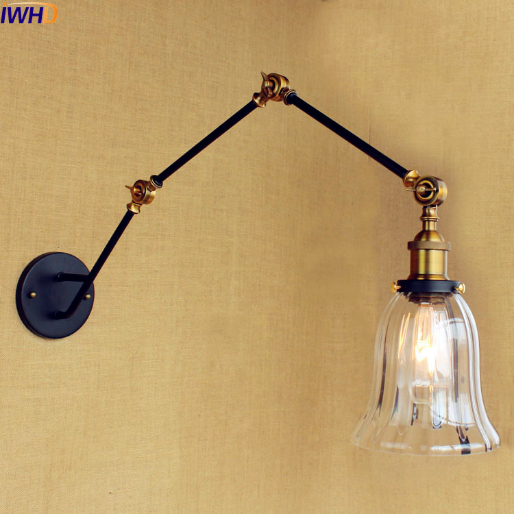 IWHD Glass Loft Industrial Wall Light Fixtures Swing Long Arm Wall Lamp Vintage <font><b>LED</b></font> Stair Lighting Sconce Lampe <font><b>Aplik</b></font> Lamba