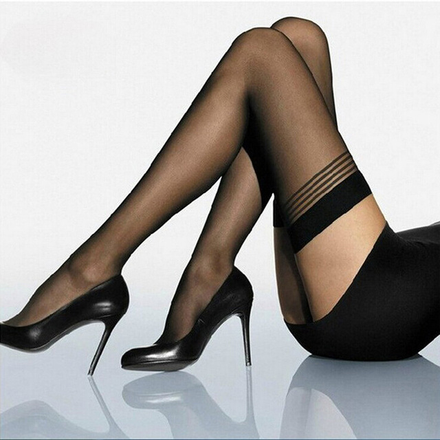 Fashion Women Hot Y Lace Stockings Top Stay Up Thigh Highs Black