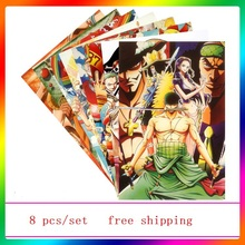 Good Quality 8 pcs/set Different Designs Anime A3 Posters One Piece Luffy Zoro Tony Tony Chopper Gift Wall Pictures