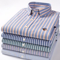 High Quality Pure Cotton Solid Color Stripe Twill Casual Business Oxford Long Sleeve Dress Shirts Slim Fashion Navy Yellow Shirt