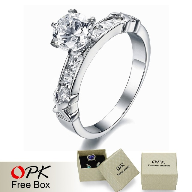 OPK JEWELRY hot selling women's Jewelry  stainless steel  ring luxury design big crystal inlaid top quality size 5/6/7/8/9  3899