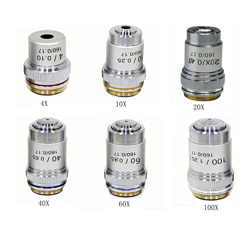 High Quality 4X 10X 20X 40X 60X 100X Microscope Objective Lens Achromatic Objective Biological Microscope parts accessories one set 4x 10x 20x 40x 60x 100x achromatic objective lens for biological microscope bio microscope conjugate distance 185mm