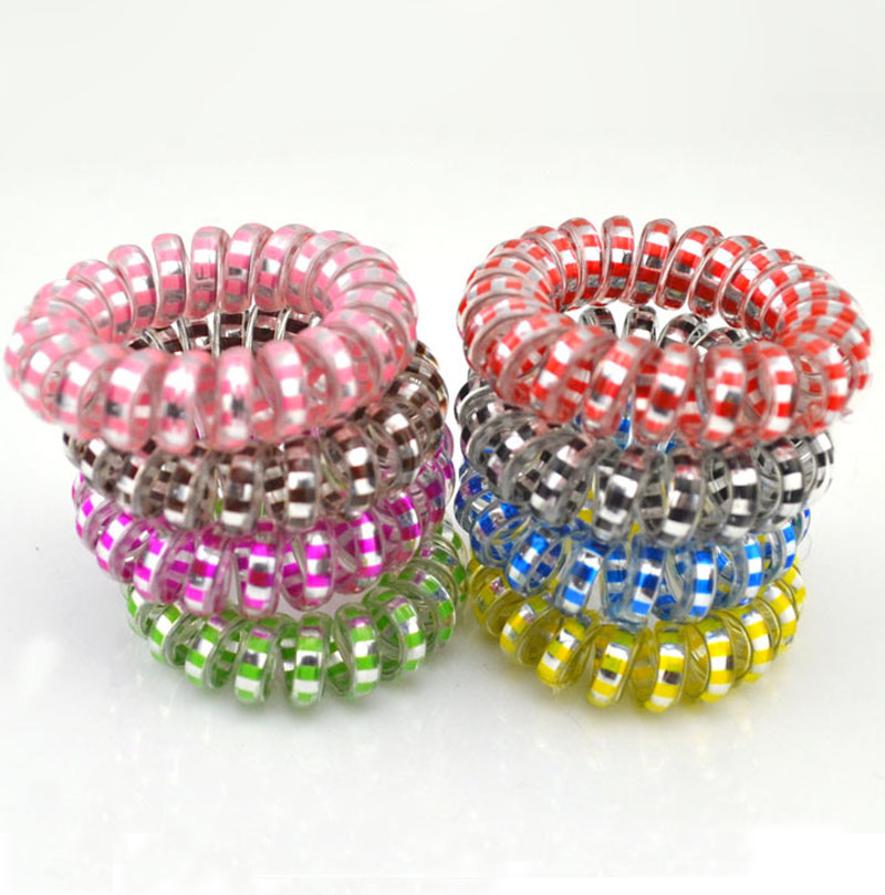 Women Girls Hair Bands Rubber Telephone Wire Hair Ties