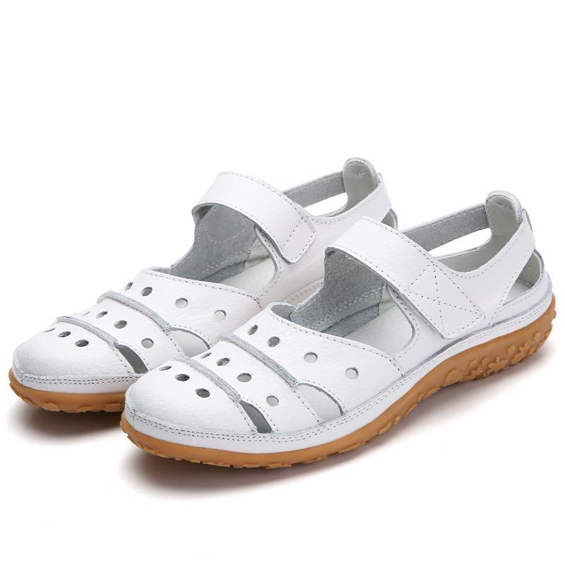 Women Sandals Plus Size Split Leather Soft Bottom 2019 Summer Flat Shoes Woman Leisure Sandal Cut out Mothers Sandalias SH060401Low Heels   -