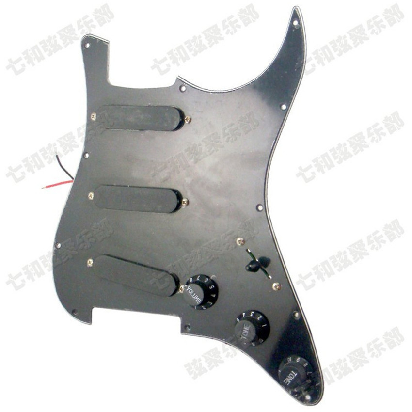 Black 3S Electric Guitar Loaded Prewired Pickguard scratchplate Assembly With SSS closed style pickup Guitar Accessories parts free shipping 4ply 11 screw holes sss cream pearl fd strat st style electric guitar pickguard diy replacement light cream pearl
