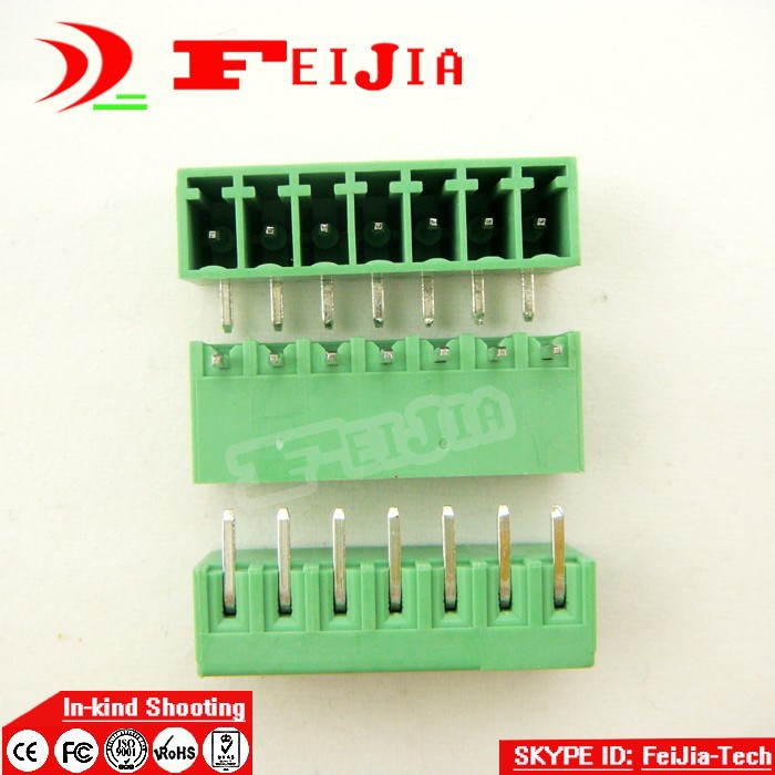 (50pcs/lot) 15EDG-3.5-7P Bend Pin PCB Screw Terminal Block Connector 3.5mm Pitch 7 Pins Plug in hot factory direct wholesale idc40 male plug 40pin port header terminal breakout pcb board block 2 row screw