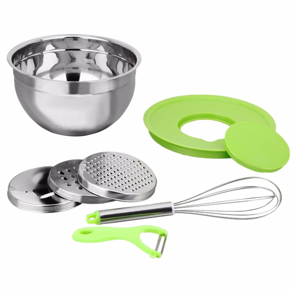 Multifunctional Combined Bowl Household Stainless Steel Portable Kitchen Shiny Mixing Bowl Set with Lids Accompanying Tools