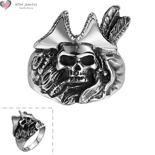 38f0fa23f5bf4d GMYR143 Retro Maya Easter Halloween Punk Skull Ring 316L Stainless Steel  Titanium Jewelry Skeleton Pirate Shaped