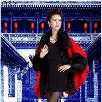 SC73 2017 Winter Mới Kích Thước Lớn của Phụ Nữ Dệt Kim Cardigan Giả Con Cáo Fur Cape Wedding Choàng Thời Trang Poncho Với Lông tay áo