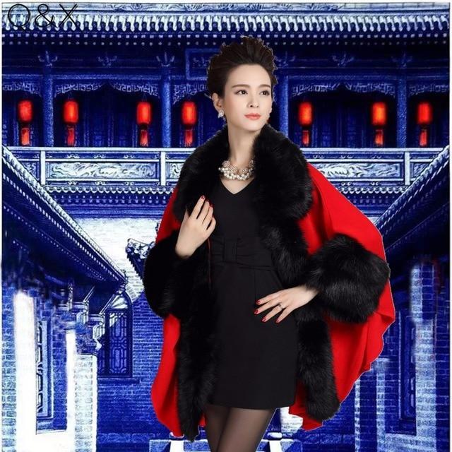 SC73 2017 Winter New Large Size Women's Knitted Cardigan Imitation Fox Fur Cape Wedding Shawl Fashion Poncho With Fur Sleeves