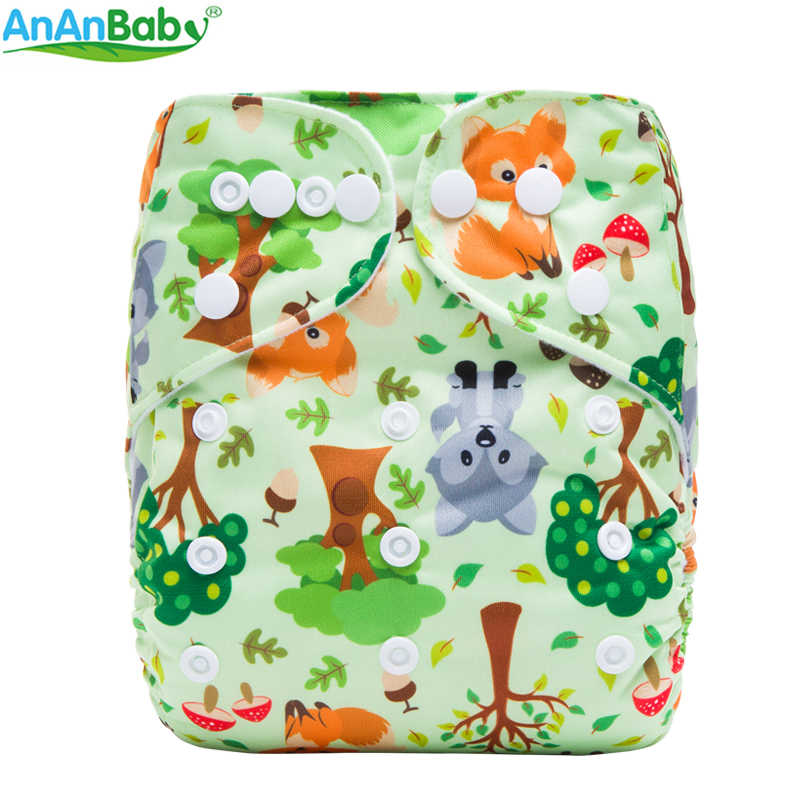Ananbaby 1pcs Digital Animals And Rainbow Prints Diaper Nappie Reusable Waterproof PUL One Size Fits All Baby Cloth Diaper