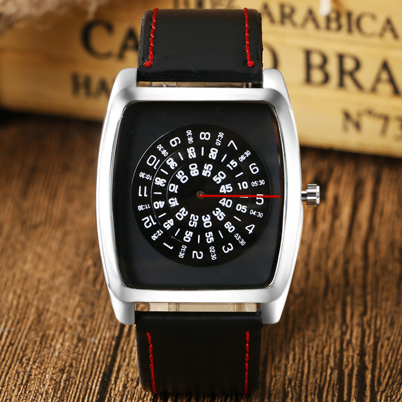 Black Quartz Sport Wrist Watch PU Leather Boy Mens Unisex Turntable Recangel Dial Quartz Watch Red Snitch Q0801 daybird 3785 unisex quartz wrist watch w hollow calendar black red white silver 1 x lr626