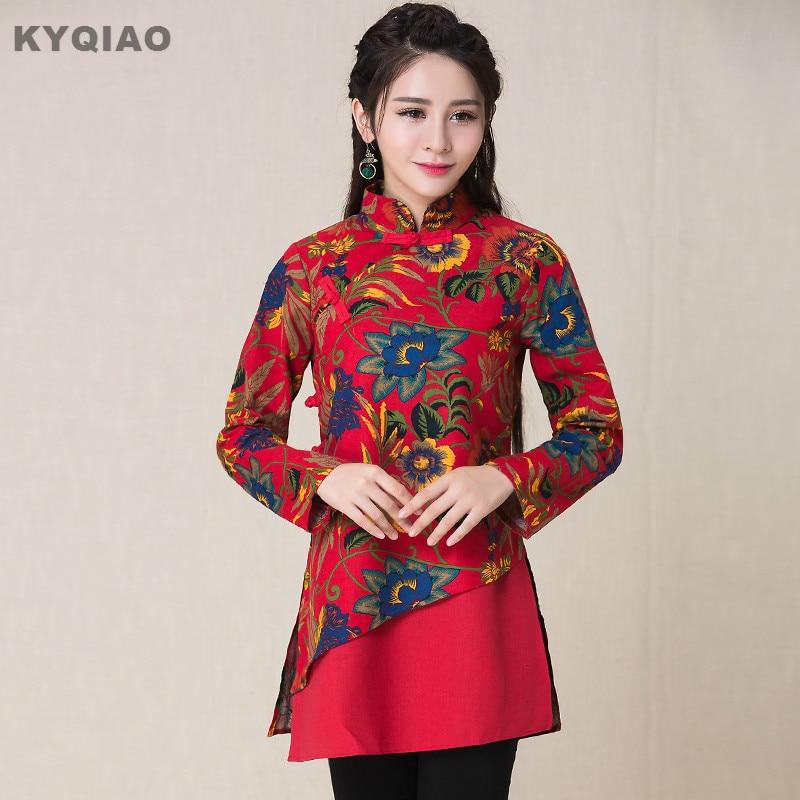 Collar Étnicos Rojo Verde Camisa Mandarin Ropa 2019 Larga Chino Blusa Mujeres Elegante Kyqiao Verde Primavera rojo Manga Tienda De Estampado qfvwZnO8