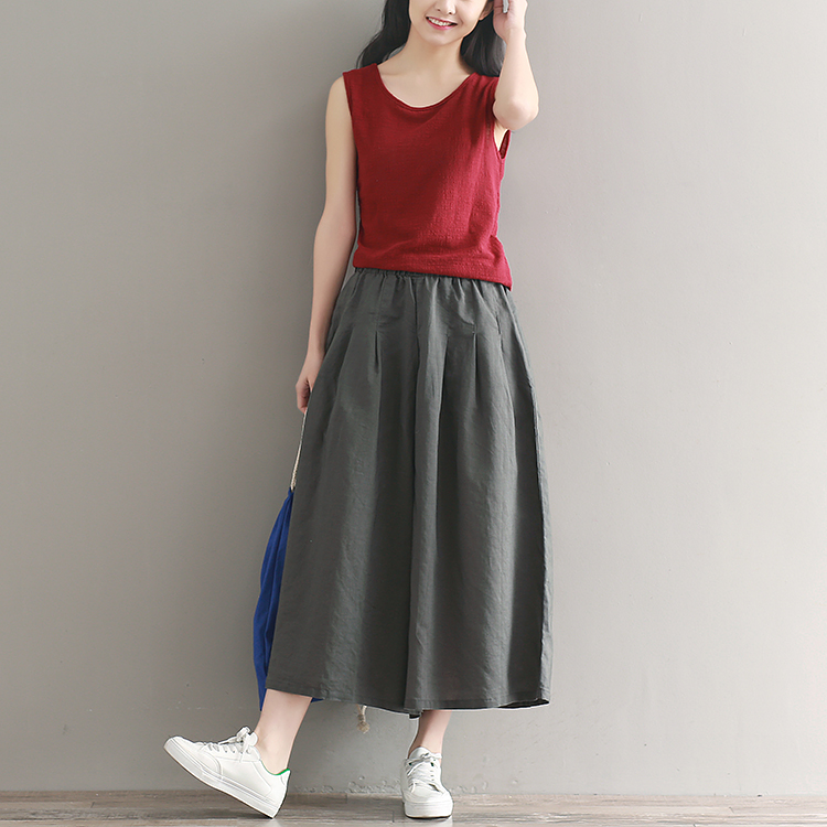 2019 Summer Cotton Hemp   wide     leg     pants   loose big code casual   pants   skinny nine min   pants   A skirt   pants   FW32