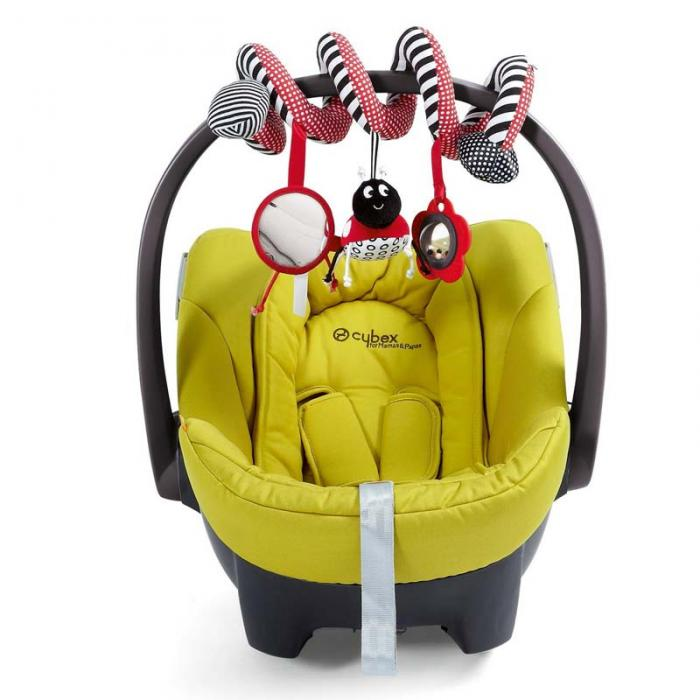 New Funny Toys Hanging Stripe Flower Ladybug Glass Mirror Shape Cute Plush Activity Crib Bell Stroller Baby Soft Toys FL 3