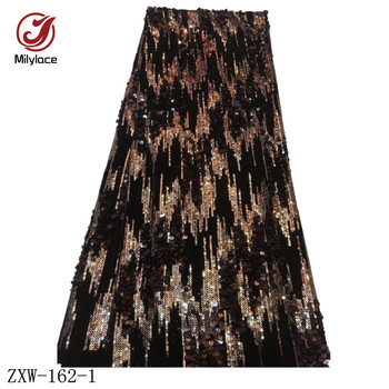 African Nigerian Sequins Lace Fabric 5 Yards Mixed Color Sequence Tulle Lace Fabric Fashion Net Lace for Party Dresses ZXW-162