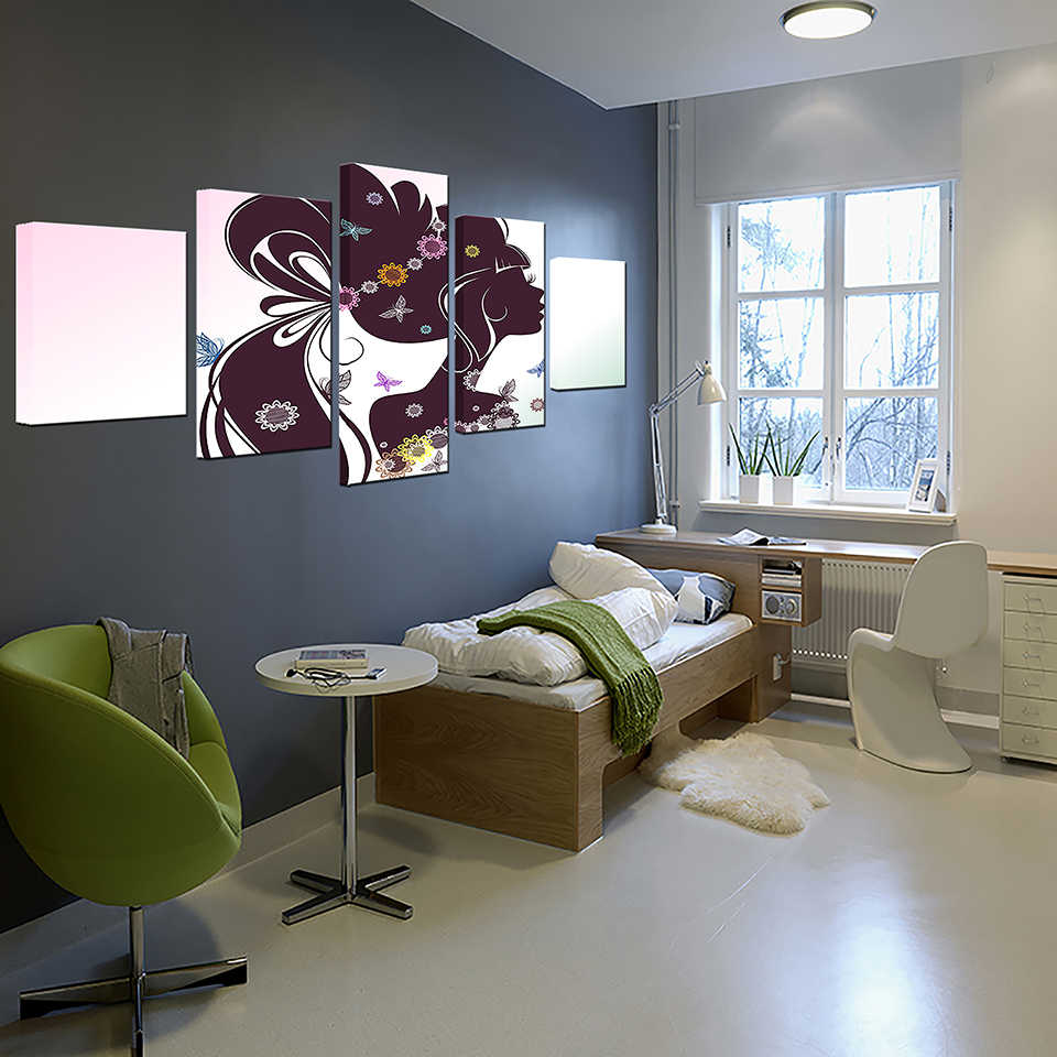 HD drukuje wystrój domu ściany obrazy ramy plakaty 5 sztuk piękne długie włosy kwiat dziewczyna sylwetka obrazy na płótnie