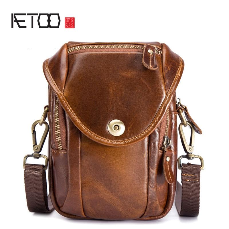 AETOO Men's new waterproof mobile phone pockets wear belt leather multi-function change key package стоимость