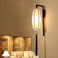 Chinese style fabric wall lamp,retro cloth sconce bra for tearoom living room aisle corridor bedroom theme restaurant light