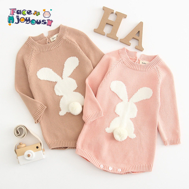 Knitted Romper Baby Jumpsuit Long-Sleeve Newborn Bunny Baby Baby-Girl 100%Cotton Spring title=