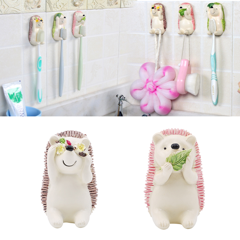 Resin Storage Rack Kawaii Hedgehog Toothbrush Holder Wall Mounted Bathroom Towel Rack Washing Ball Hanger Home Plug Hook image