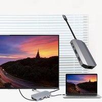 High Quality 9 In 1 USB 3.1 Type C Hub 4K HDMI Video HD RJ45 Ethernet SD TF Card Reader Charging Dock