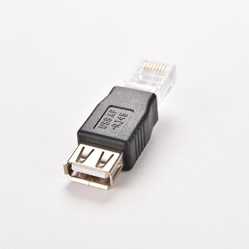 RJ45 mâle vers USB 2.0 AF A femelle adaptateur connecteur PC tête de cristal ordinateur portable LAN câble réseau Ethernet convertisseur prise Transverter
