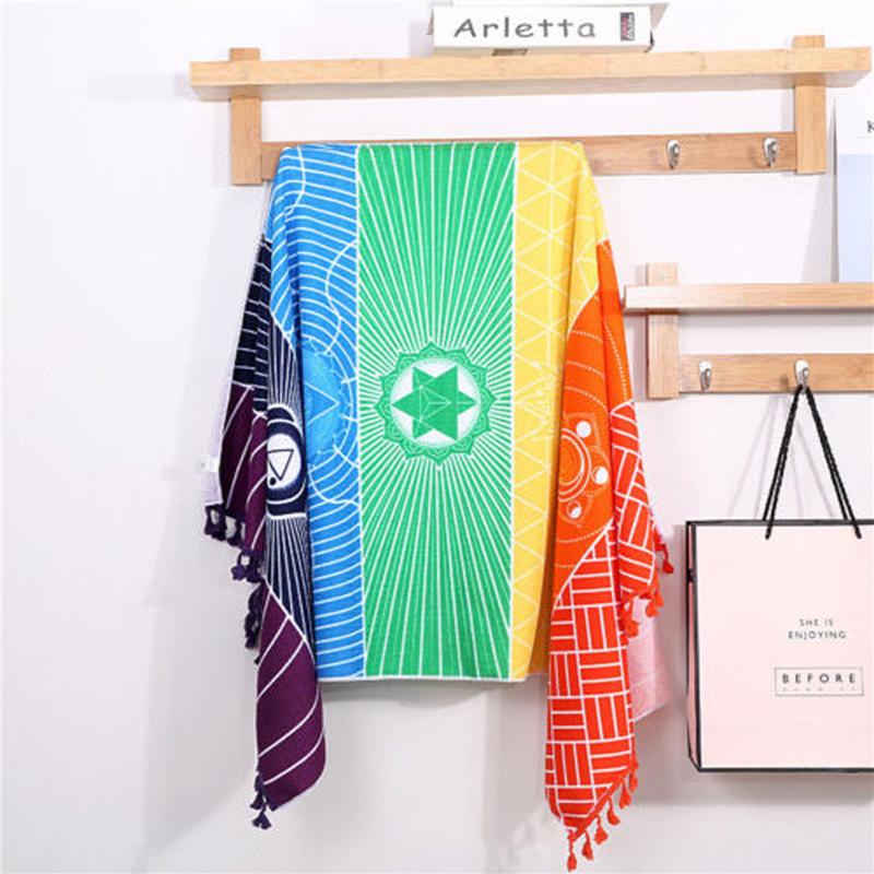 Dropship! Single Rainbow Chakra Tapestry Towel Carpet Mandala Boho Stripes Travel Yoga Mat Outdoor Mats 150x70cm/100x45cm 15
