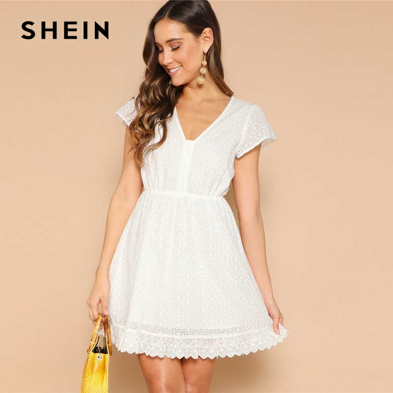378641250b8e Detail Feedback Questions about SHEIN White Lace Eyelet Single Breasted V  neck Solid Summer Dress Women 2019 Short Sleeve A Line Bohemian Mini Flared  ...