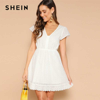 SHEIN White Lace Eyelet Single Breasted V neck Solid Summer Dress Women 2019 Short Sleeve A Line Bohemian Mini Flared Dresses