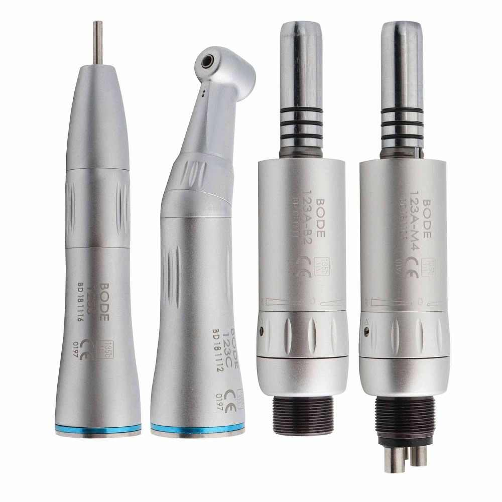 Dental Low Speed Handpiece Kit Air Turbine Straight Contra Angle Air Motor Inner Water Spray 2/4Holes Available BODE